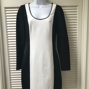 Banana Republic black and white long sleeve dress